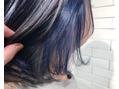 ブルーのインナーカラーがお洒落!