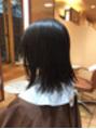 ノーズラインの前髪×ショートボブ×ウェーブ