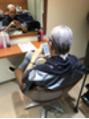 営業後、萩原さんを染めました!
