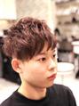 メンズパーマスタイル×暖色系カラー