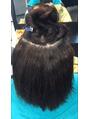 黒染めブリーチ毛