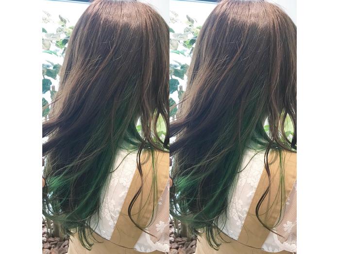 がっつりグリーンのインナーカラー☆_20190828_1