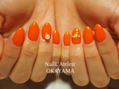【お客様ネイル】オレンジワンカラー