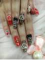 黒×赤おフェロネイル♪