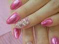 ピンクミラーのストーンネイル