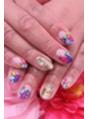 カラフルお花デザインネイル