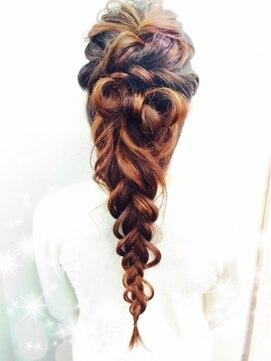 結婚式 髪型 ロングヘアアレンジ 】三つ編みリボンアレンジ♪