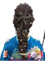 ヘアーアンドメイクサロン ハナココ(hair&make salon hana Coco)編み込みダウンスタイルリボン
