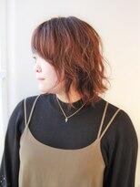 ヘアーライズ 池袋東口店(hair RISE)レッドブラウン系のウィービングカラー