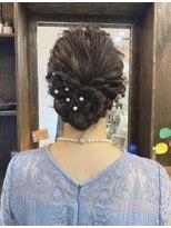 京都大人かわいい20代30代ルーズ編み込み結婚式ヘアアレンジ中島