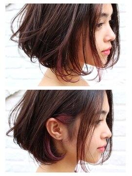 ジャコ ヘアー(jako HAIR)【jako】インナーカラー切りっぱなしボブ3Dカラーデザインカラー