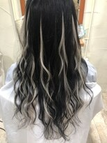 プルエクステでハイライト#黒髪ロング#ハイライト#メッシュ