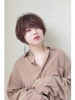 ヘアメイク シュシュ(Hair make chou chou)丸みショートボブことりベージュ毛先パーマ30代40代