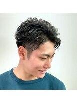 パール(PEAR+L)男のスリークショート×ショートマッシュウルフ×かき上げヘア