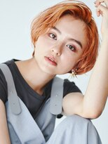ヘアサロン ガリカ 表参道(hair salon Gallica)『 ワンカールボブ × オレンジベージュ』小顔wetスタイル