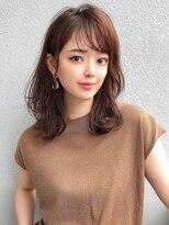 シェルハ(XELHA)アフロート斎藤 ひし形ミディアムヘア小顔カットブラウンカラー