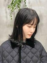 テトヘアー(teto hair)ナチュラル 外ハネ シースルーバング 暗髪 透明感カラー