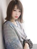 リー 神楽坂(Re-)アシメバング×ベージュカラー☆おすまし顔切りっぱなしボブ♪