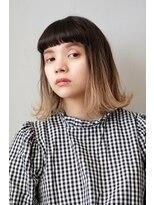 シアン ヘア デザイン(cyan hair design)【グラデーションカラー】切りっぱなしルーズボブ