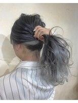 インナーカラー グレージュ ホワイトカラー 黒髪 ブルージュ