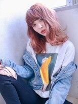 ふんわり外ハネピンクスタイル【LUXBE 西宮北口店】