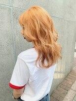 ロッジ 原宿店(RODGE)派手髪【オレンジカラー】担当 畑中里志 くびれセミディ