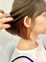 【Astar】インナーカラー ピンクオレンジ 切りっぱなしボブ