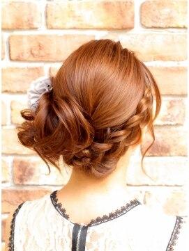 結婚式の髪型(ヘアアレンジ)  アシンメトリー ★ あみこみサイドアップ 結婚式やパーティーに