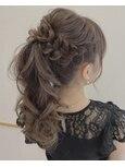 ドレスヘア 結婚式ヘア ポニーテール 結婚式お呼ばれ 編み込み
