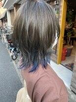 『京都 ルーナ』レイヤーカット 裾カラー インディゴブルー