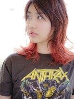 《hair make No.8》デザインカラー Pink+Red・担当中村