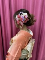 ハナココ 水戸店(hana Coco)レンタル着物訪問着ゆるふわ下めアップ卒業式バースデーイベント
