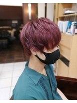 ピラミンゴカラーメンズ赤髪