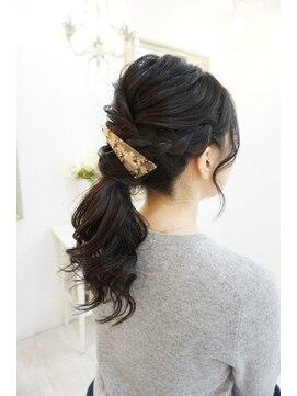 ヘアアンドメイクジップ恵比寿 (Hair&Make ZIP)編み込みローポニーテール