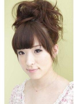 結婚式の髪型(お団子ヘアアレンジ) グリーンアップ