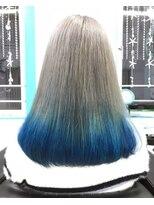 マーメイドヘアー(mermaid hair)シルバーグレーからブルーのグラデーション