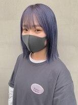 ヘアー アイス ルーチェ(HAIR ICI LUCE)パープルカラー 紫カラー ネイビーカラー ボブ 担当城倉