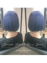 ヘアー ピープル(Hair People)#切りっぱなしボブ×ネイビーブルー