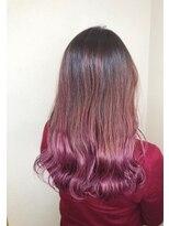 ピンクカラー_厚めバング,ローライト,デザインカラー