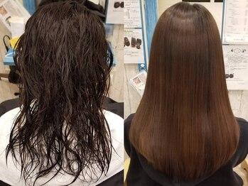 ヘアー リラクゼーション ドロップ(Hair relaxation drop)の写真/しっかりストレートから丸みを加えたナチュラルストレートまで細かい要望に対応★朝のスタイリングも◎