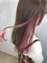 ○キュートなピンクベージュイヤリングカラー、インナーカラー○