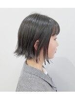 エイム ヘアメイク 横川店(eim HAIR MAKE)外はねボブ × 黒髪