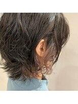 フェン ヘアーアイス(Fen.hair ici)インナーカラー シルバーパープル ショート 伸ばしかけパーマ