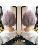 ヘアー ピープル(Hair People)#切りっぱなしボブ×ホワイティーピンクラベンダー
