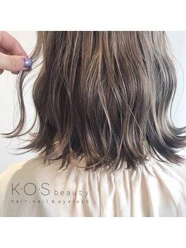 ケーオーエス(KOS beauty hair, nail & eyelash)波ウェーブボブ×ミルクティー