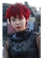 ヘアーアイスカルテット(HAIR ICI QUARTET)赤カラー ショート ウルフ クール 派手カラー