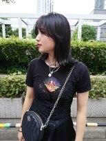 黒髮ミディ_小顔,オリーブカラー,ハイライトカラー