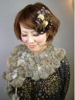 ヘアードレッサーズ ティース(Hair dressers T's)ローズ系カラー+大きめカールでオシャレ髪