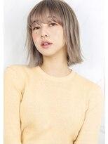 ヘアサロン ガリカ 表参道(hair salon Gallica)『 外ハネ & グレージュ 』☆ シースルーバング切りっぱなしボブ
