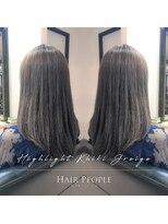 ヘアー ピープル(Hair People)#前上がりセミディ×カーキグレージュ